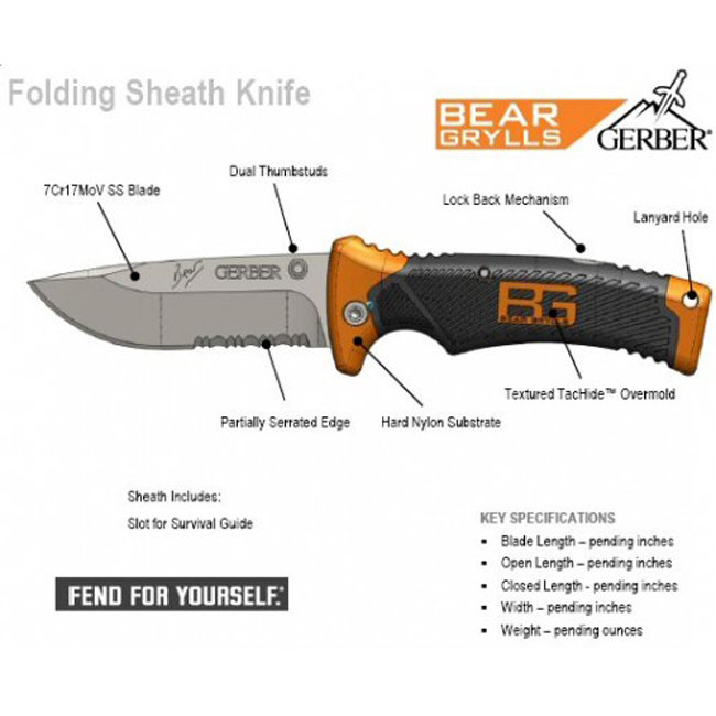 Складной нож Gerber Bear Grylls Folding Sheath Knife, блистер, 31-000752